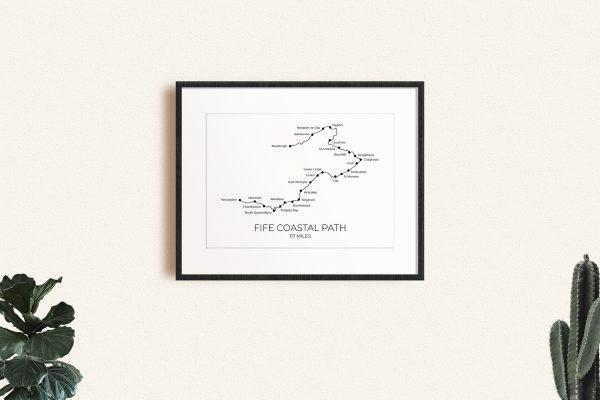 Fife Coastal Path art print in a picture frame