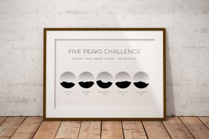 Five Peaks Challenge art print in a picture frame