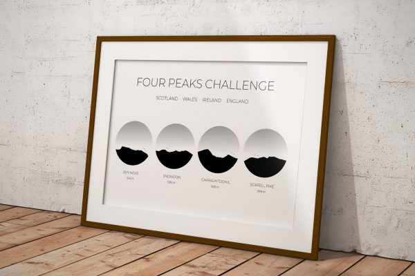 Four Peaks Challenge Ireland art print in a picture frame