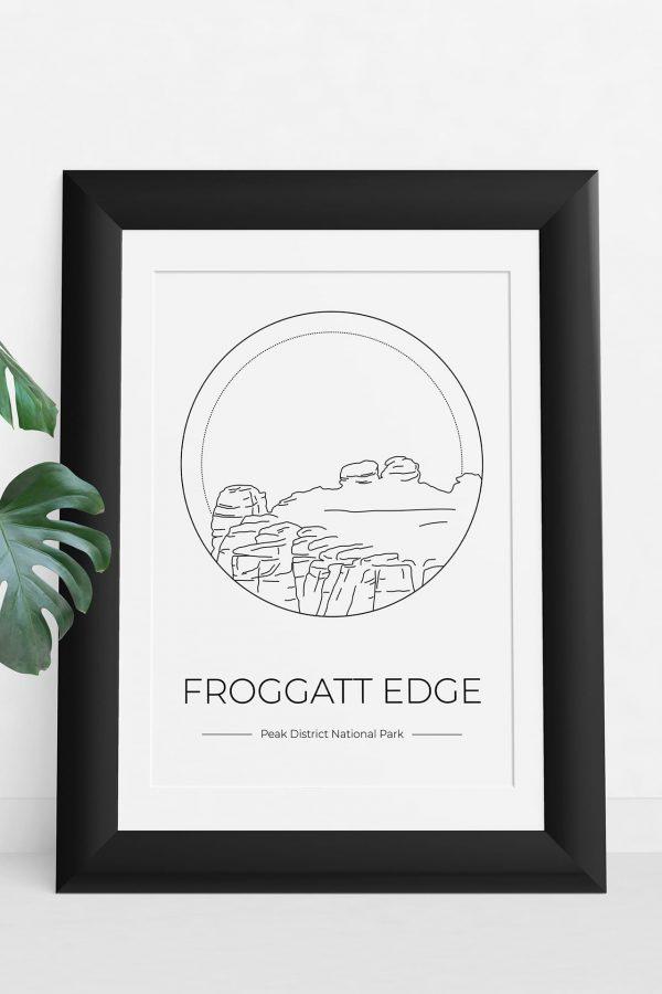 Froggatt Edge art print in a picture frame