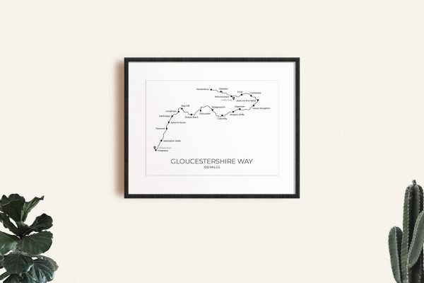 Gloucestershire Way art print in a picture frame