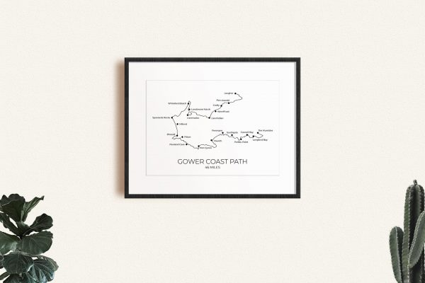 Gower Coast Path art print in a picture frame