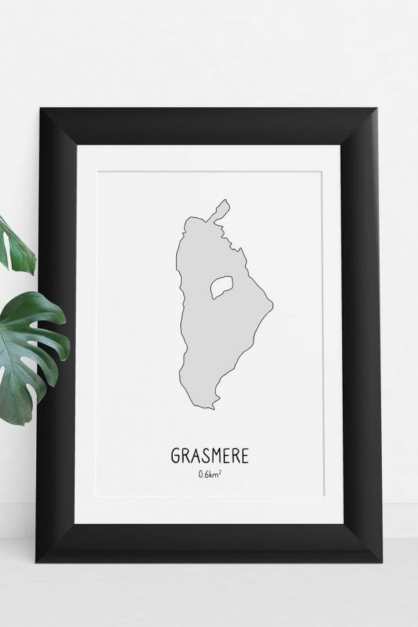 Grasmere shaded art print in a picture frame