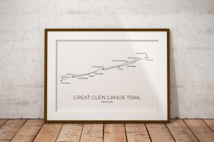 Great Glen Canoe Trail art print in a picture frame