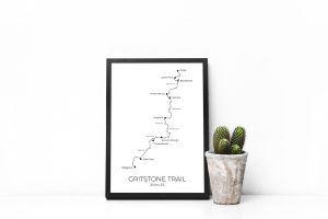 Gritstone Trail art print in a picture frame