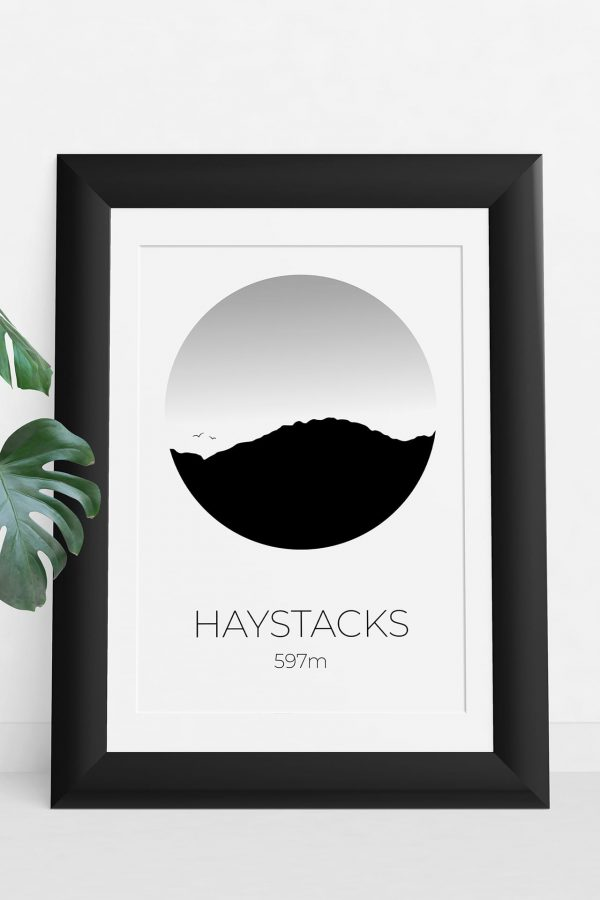 Haystacks circle silhouette art print in a picture frame