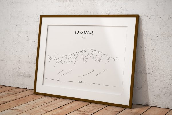 Haystacks line art print in a picture frame