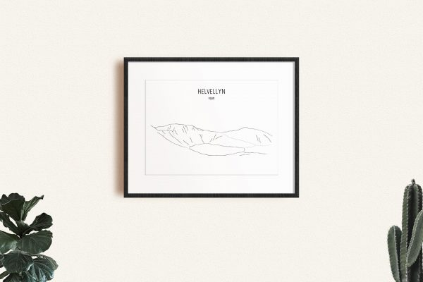 Helvellyn line art print in a picture frame