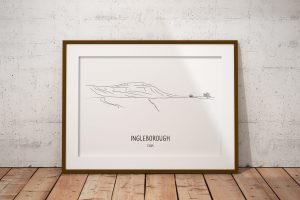 Ingleborough line art print in a picture frame