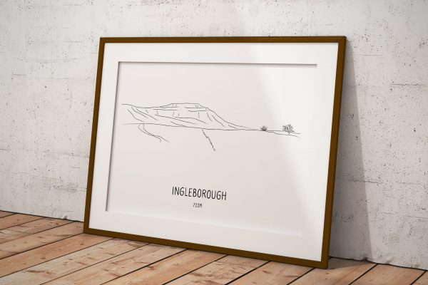 Ingleborough line art print in a picture frame