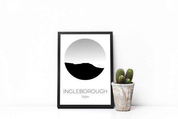 Ingleborough art print in a picture frame