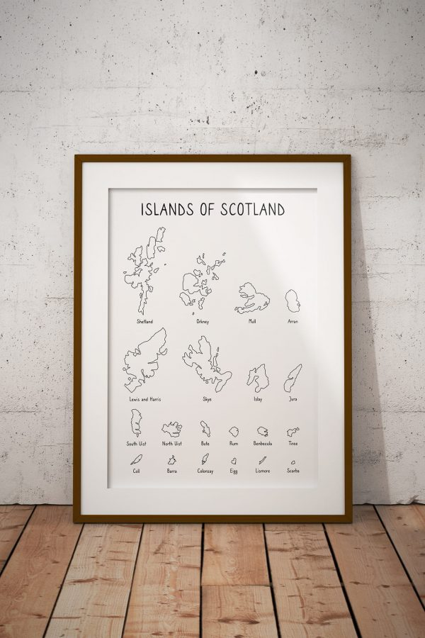 Islands of Scotland outline art print in a picture frame