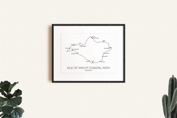 Isle of Wight Coastal Path art print in a picture frame