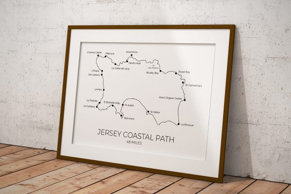 Jersey Coastal Path art print in a picture frame