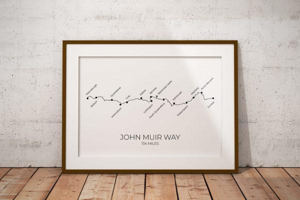 John Muir Way art print in a picture frame