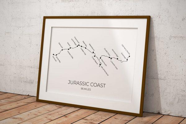 Jurassic Coast art print in a picture frame