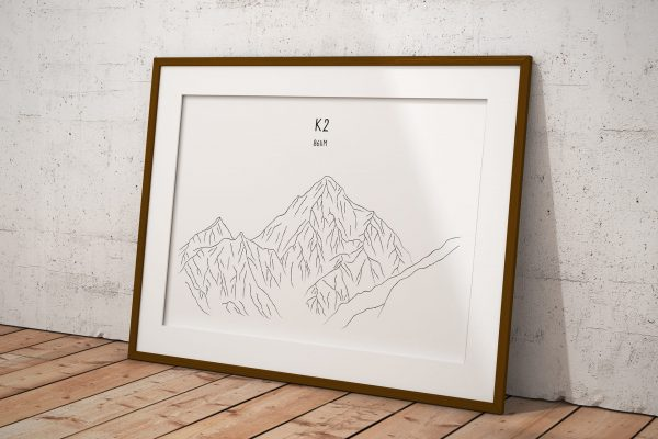 K2 line art print in a picture frame