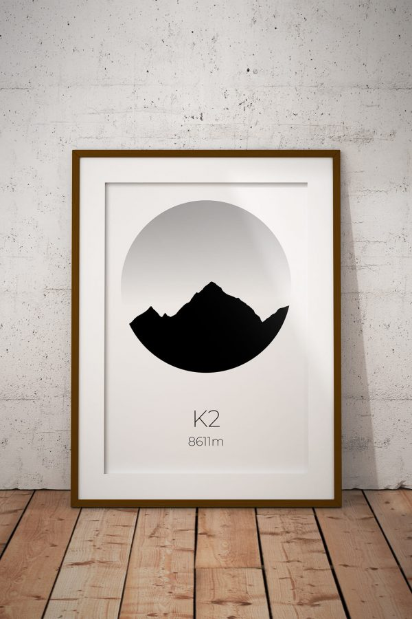K2 silhouette art print in a picture frame