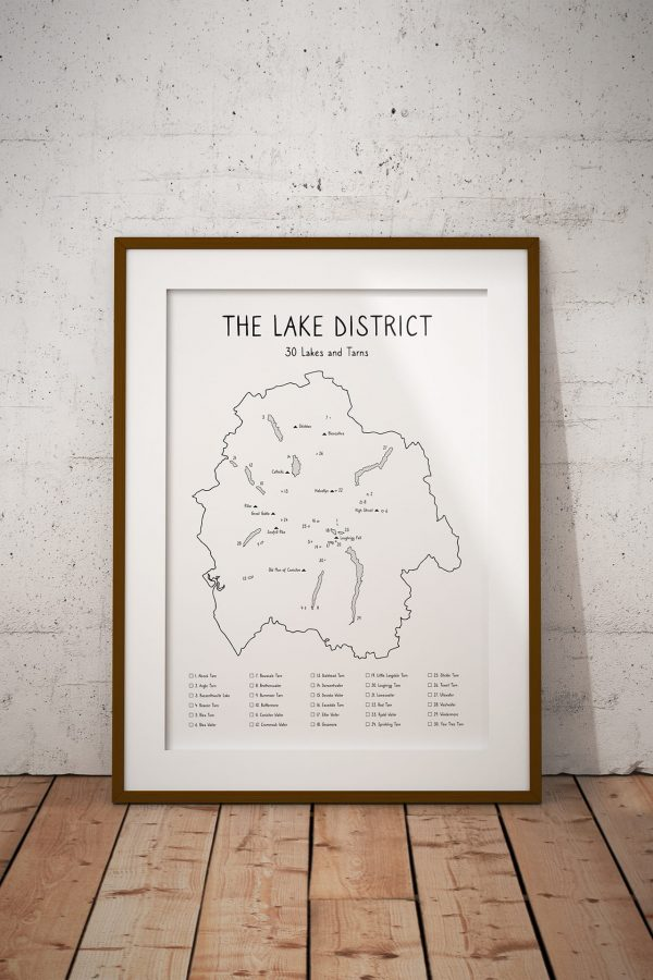 Lake District 30 Lakes and Tarns Art Print in a picture frame