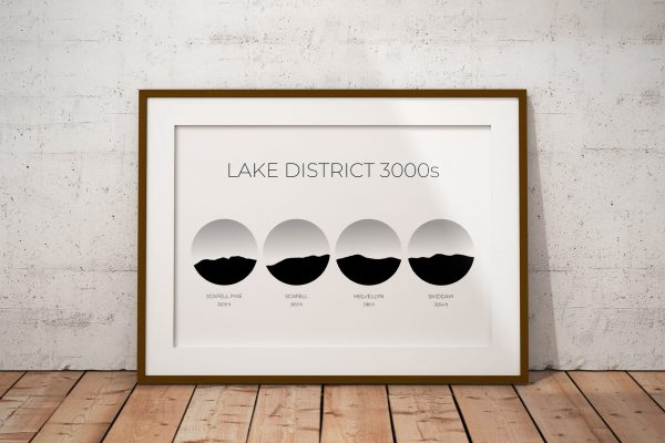 Lake District 3000s art print in a picture frame
