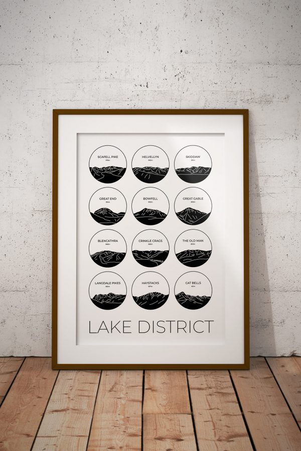 Lake District collage light art print in a picture frame