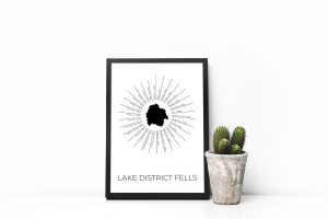 Lake District Fells art print in a picture frame