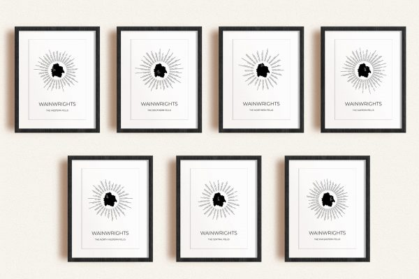 Lake District Fells Set of 7 Radial Art Prints in picture frames