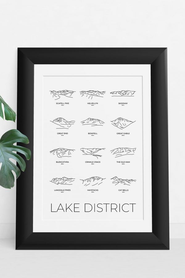 Lake District line art group print in a picture frame