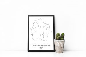 Lake District National Park line art map print in a picture frame