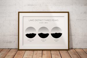 Lake District Three Peaks circle art print in a picture frame
