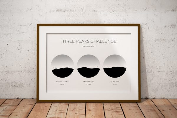 Lake District Three Peaks Challenge art print in a picture frame