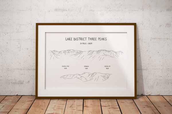 Lake District Three Peaks Challenge horizontal line art print in a picture frame