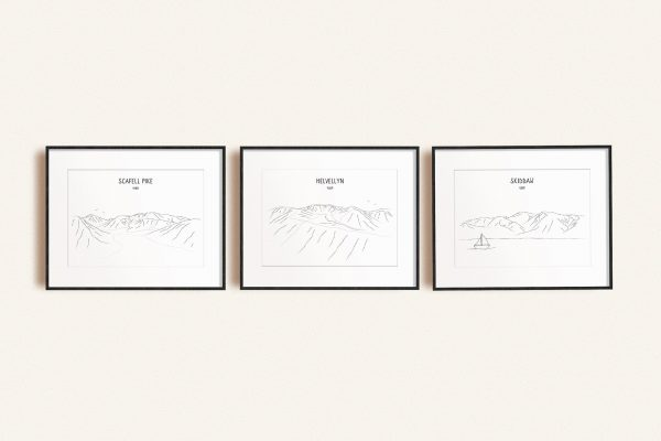Lake District Three Peaks Challenge set of three line art prints in picture frames