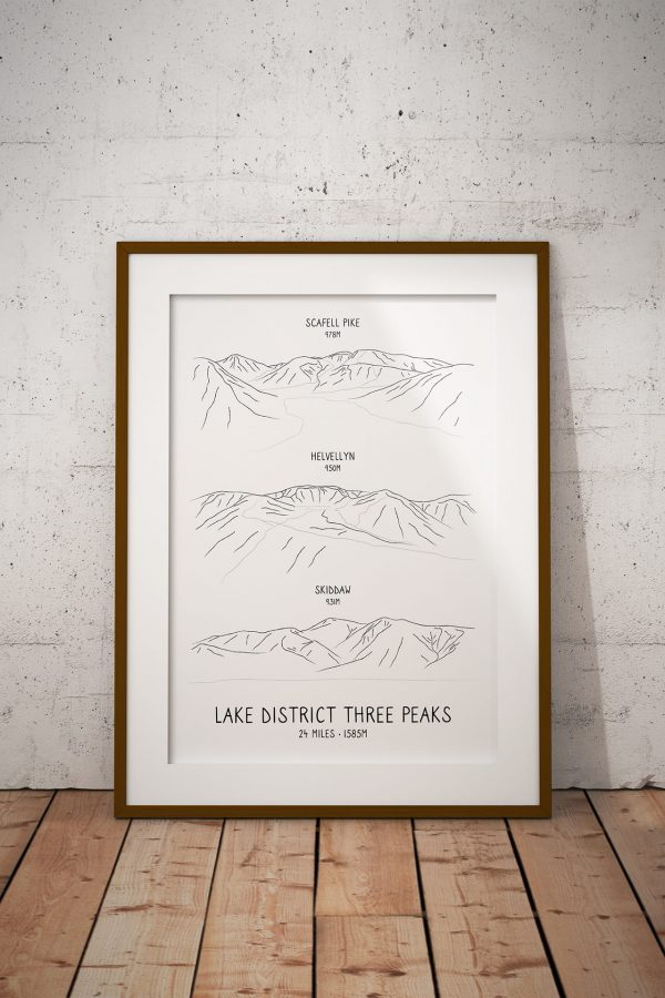 Lake District Three Peaks vertical line art print in a picture frame
