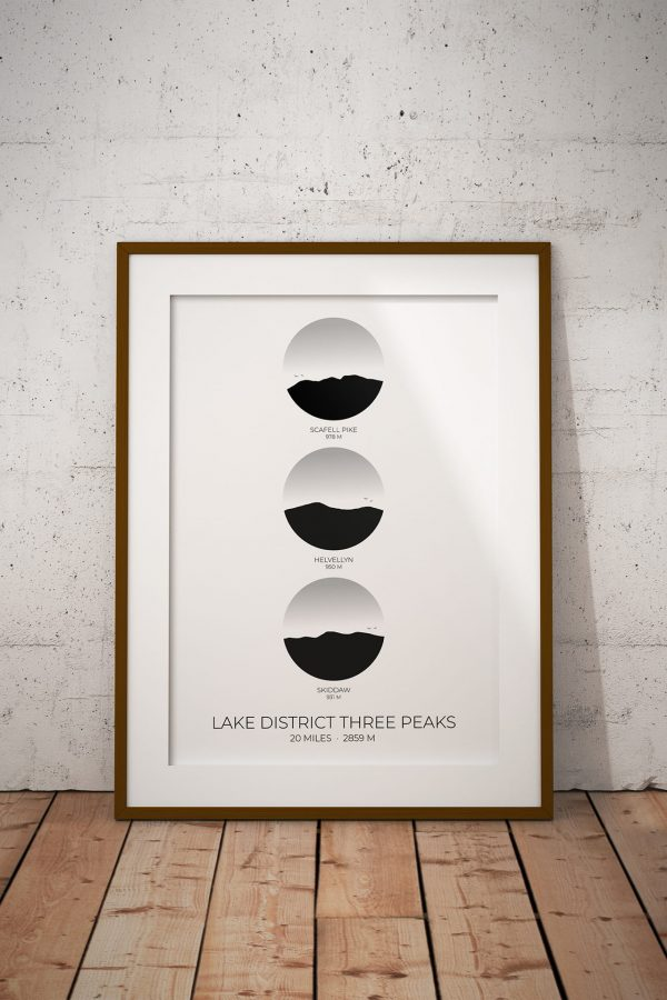 Lake District Three Peaks Challenge vertical circle art print in a picture frame