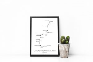 Lancashire Coastal Way art print in a picture frame