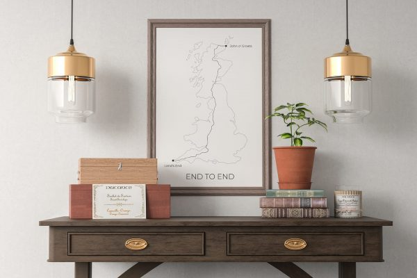 Land's End to John O' Groats art print in a picture frame