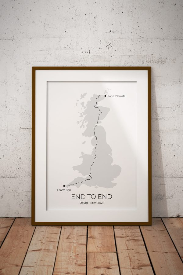 Land's End to John o' Groats Shaded Personalised Print Example