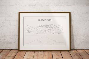 Langdale Pikes line art print in a picture frame