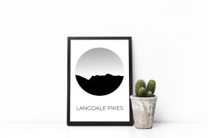 Langdale Pikes silhouette art print in a picture frame