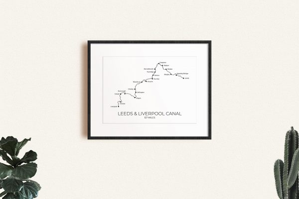 Leeds & Liverpool Canal art print in a picture frame