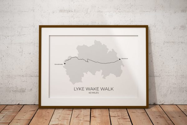 Lyke Wake Walk shaded art print in a picture frame