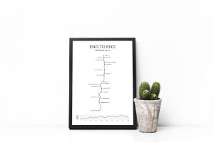 Malvern Hills End to End walk art print in a picture frame