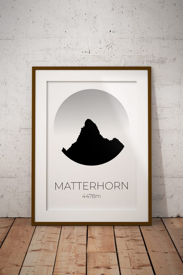 Matterhorn Circle Silhouette art print in a picture frame