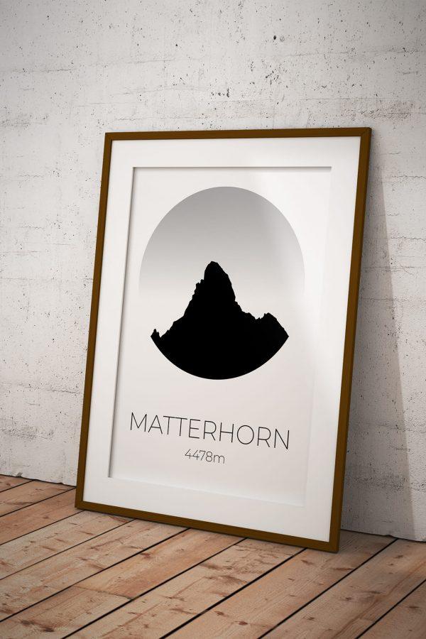 Matterhorn Circle Silhouette art print in a picture frame