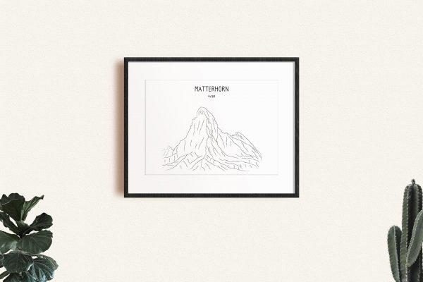 Matterhorn art print in a picture frame