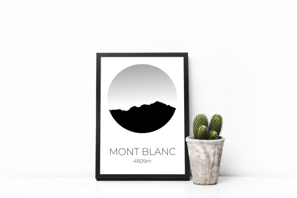 Mont Blanc Circle Silhouette art print in a picture frame