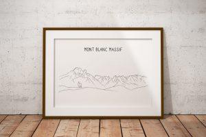 Mont Blanc Massif line art print in a picture frame