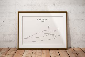Mont Ventoux line art print in a picture frame