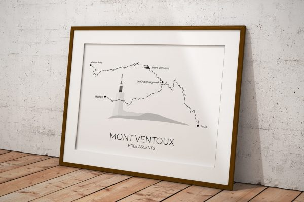 Mont Ventoux Three Ascents art print in a picture frame
